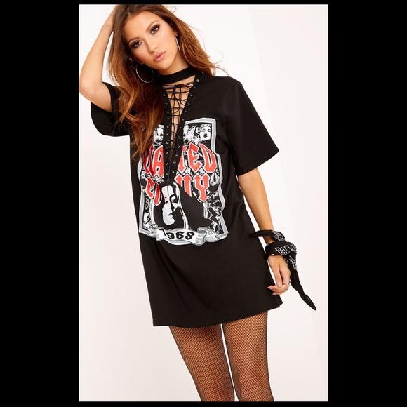 black slogan t shirt dress